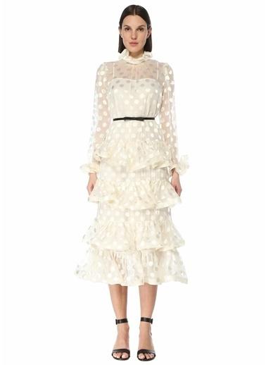 Zimmermann Zimmermann The Lovestruck  Puantiyeli Midi Elbise 101598413 Beyaz